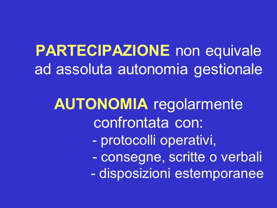 PARTECIPAZIONE non equivale ad assoluta autonomia gestionale AUTONOMIA regolarmente confrontata con: - protocolli operativi, - consegne, scritte o ver
