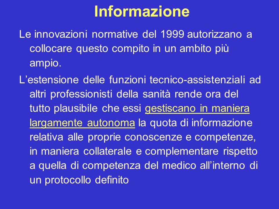Informazione Le innovazioni normative del 1999 autorizzano a collocare questo compito in un ambito più ampio. Lestensione delle funzioni tecnico-assis