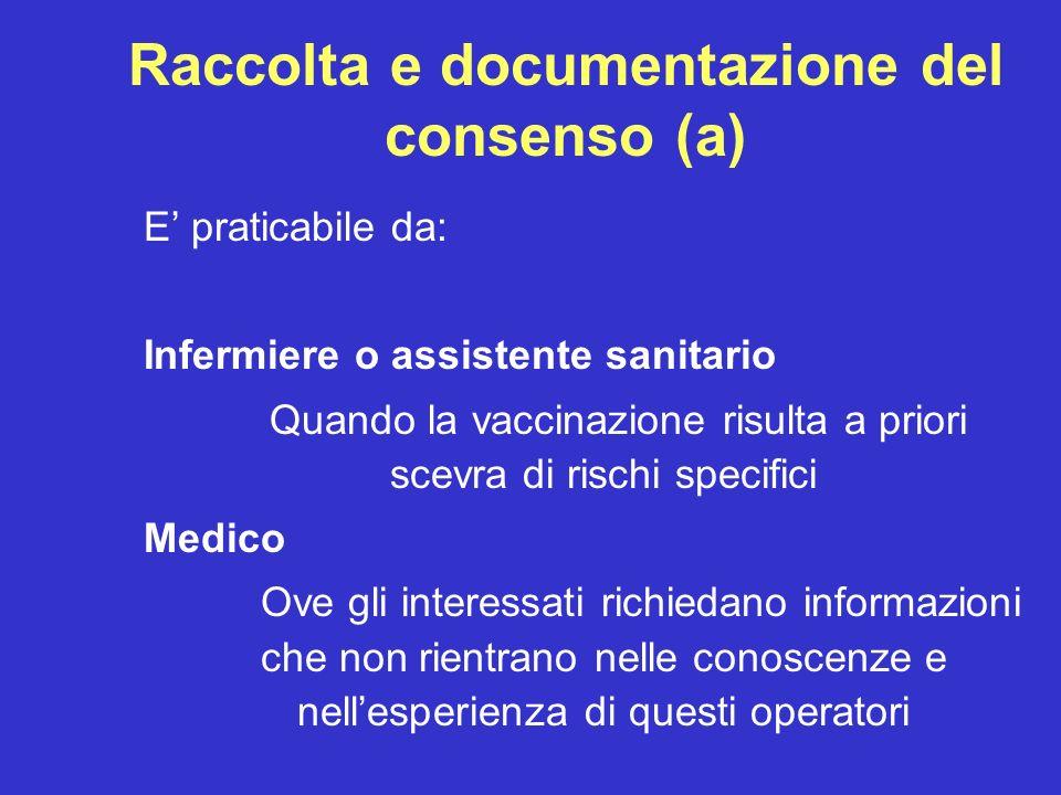 Raccolta e documentazione del consenso (a) E praticabile da: Infermiere o assistente sanitario Quando la vaccinazione risulta a priori scevra di risch