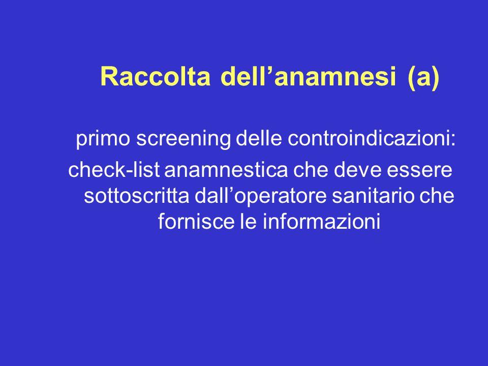 Raccolta dellanamnesi (a) primo screening delle controindicazioni: check-list anamnestica che deve essere sottoscritta dalloperatore sanitario che for