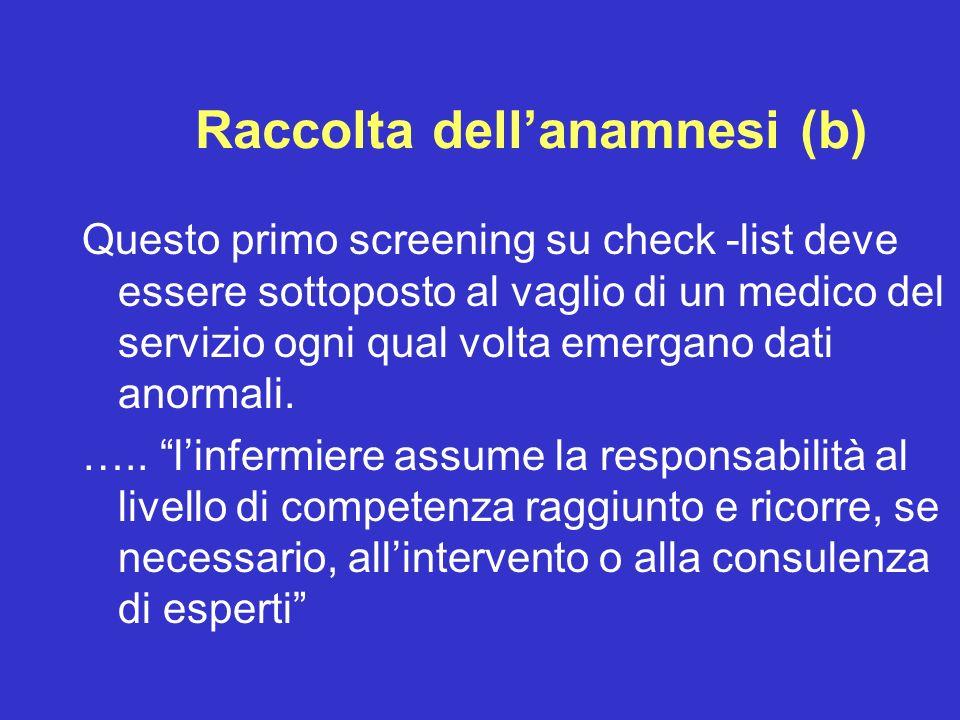Raccolta dellanamnesi (b) Questo primo screening su check -list deve essere sottoposto al vaglio di un medico del servizio ogni qual volta emergano da