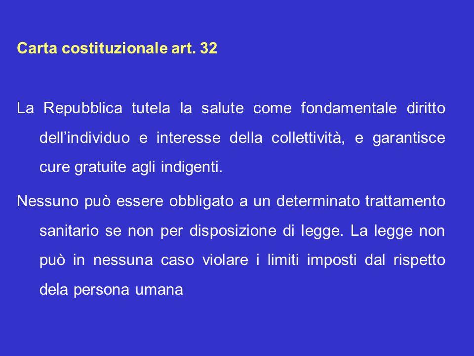 Carta costituzionale art. 32 La Repubblica tutela la salute come fondamentale diritto dellindividuo e interesse della collettività, e garantisce cure
