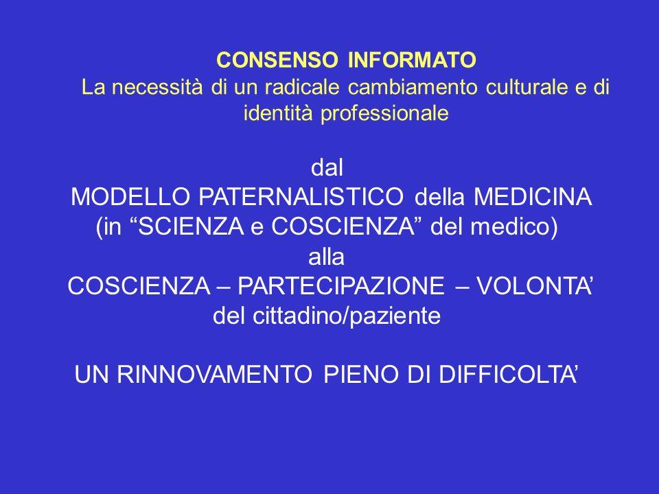 dal MODELLO PATERNALISTICO della MEDICINA (in SCIENZA e COSCIENZA del medico) alla COSCIENZA – PARTECIPAZIONE – VOLONTA del cittadino/paziente UN RINN