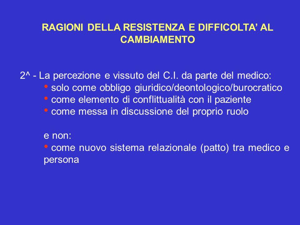 2^ - La percezione e vissuto del C.I. da parte del medico: solo come obbligo giuridico/deontologico/burocratico come elemento di conflittualità con il