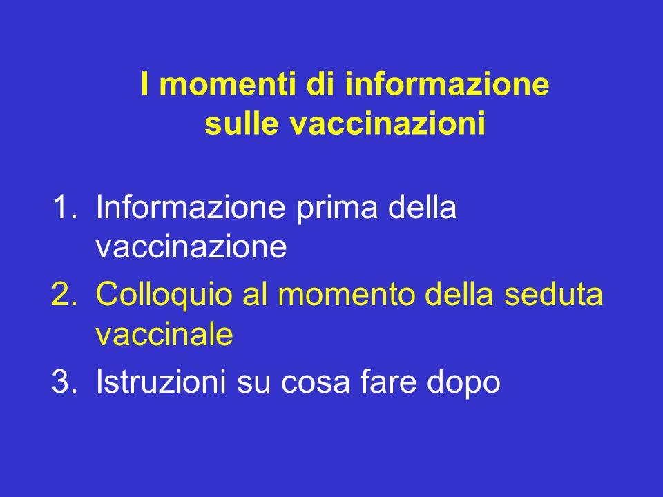 I momenti di informazione sulle vaccinazioni 1.Informazione prima della vaccinazione 2.Colloquio al momento della seduta vaccinale 3.Istruzioni su cos