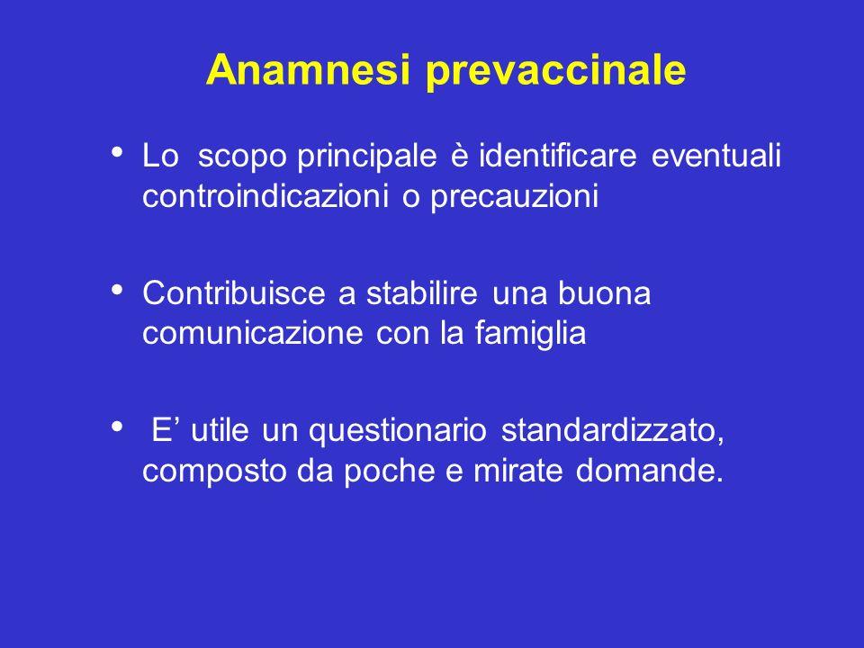 Anamnesi prevaccinale Lo scopo principale è identificare eventuali controindicazioni o precauzioni Contribuisce a stabilire una buona comunicazione co