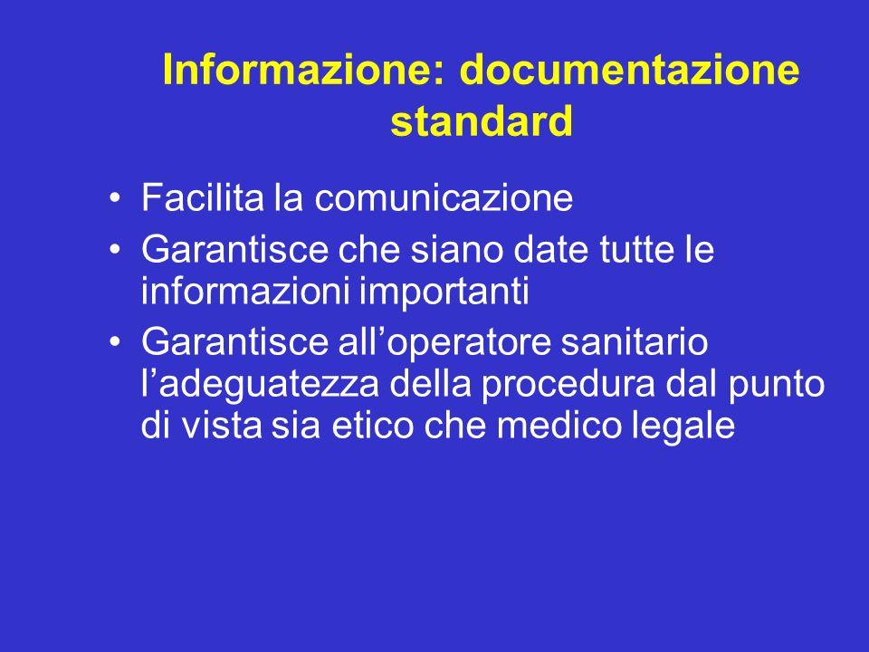 Informazione: documentazione standard Facilita la comunicazione Garantisce che siano date tutte le informazioni importanti Garantisce alloperatore san