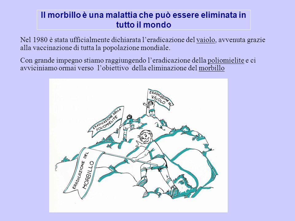 Il morbillo è una malattia che può essere eliminata in tutto il mondo Nel 1980 è stata ufficialmente dichiarata leradicazione del vaiolo, avvenuta gra