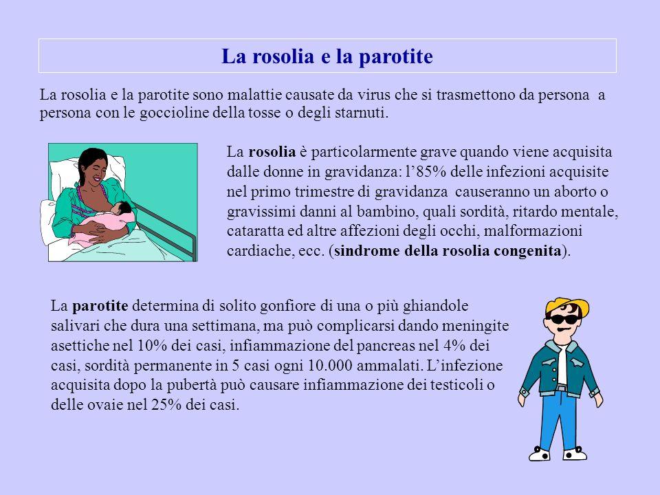 La rosolia e la parotite La rosolia e la parotite sono malattie causate da virus che si trasmettono da persona a persona con le goccioline della tosse
