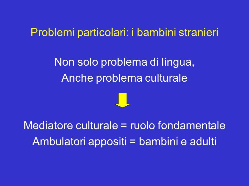 Problemi particolari: i bambini stranieri Non solo problema di lingua, Anche problema culturale Mediatore culturale = ruolo fondamentale Ambulatori ap