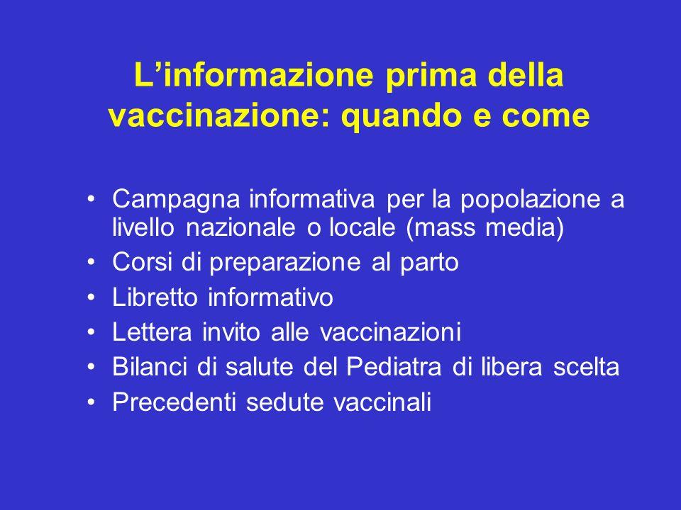 Linformazione prima della vaccinazione: quando e come Campagna informativa per la popolazione a livello nazionale o locale (mass media) Corsi di prepa