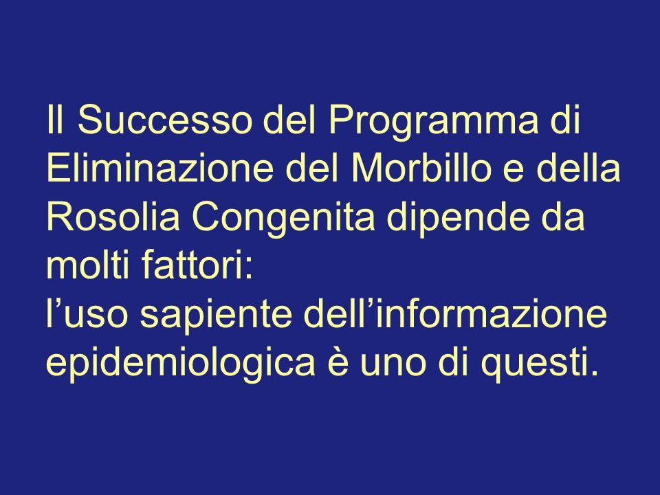 Il Successo del Programma di Eliminazione del Morbillo e della Rosolia Congenita dipende da molti fattori: luso sapiente dellinformazione epidemiologica è uno di questi.