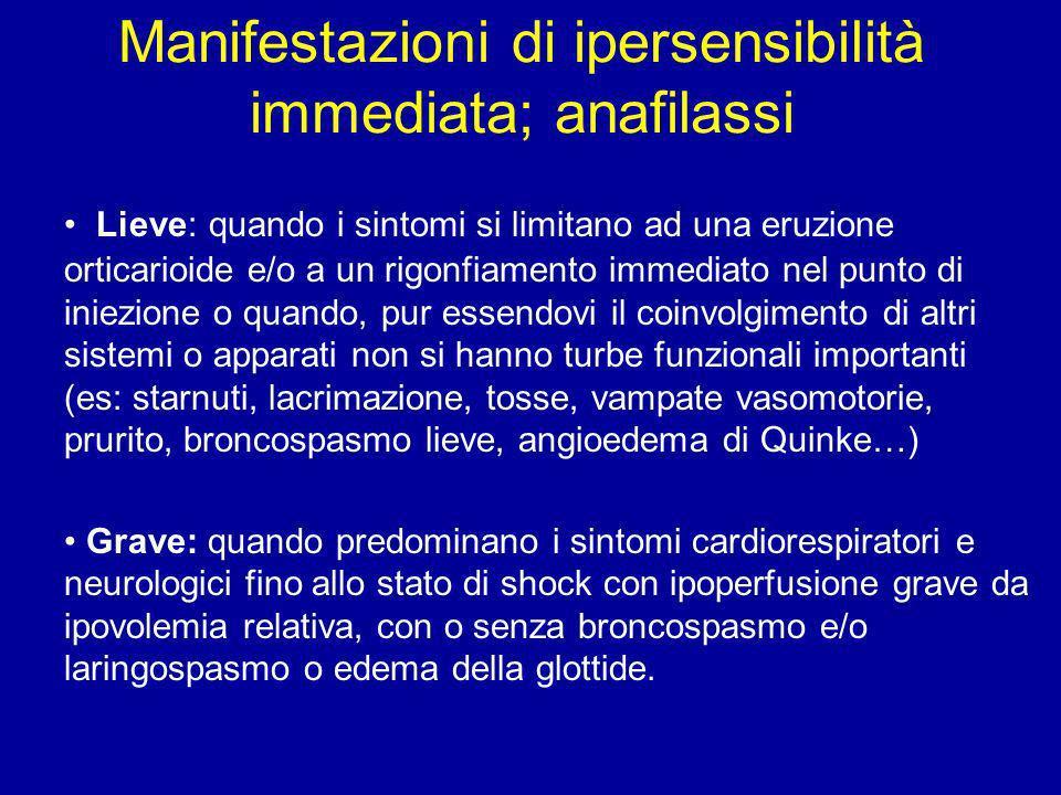 Manifestazioni di ipersensibilità immediata; anafilassi Lieve: quando i sintomi si limitano ad una eruzione orticarioide e/o a un rigonfiamento immedi