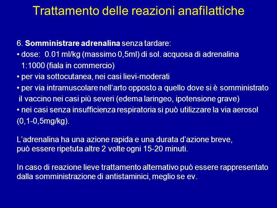 Trattamento delle reazioni anafilattiche 6. Somministrare adrenalina senza tardare: dose: 0.01 ml/kg (massimo 0,5ml) di sol. acquosa di adrenalina 1:1