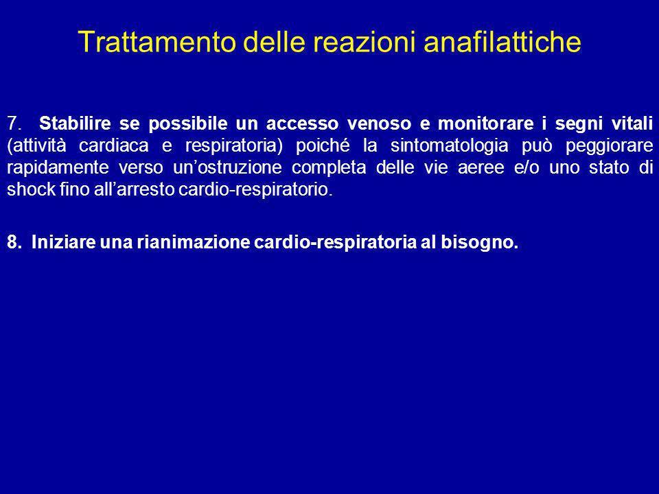 Trattamento delle reazioni anafilattiche 7. Stabilire se possibile un accesso venoso e monitorare i segni vitali (attività cardiaca e respiratoria) po