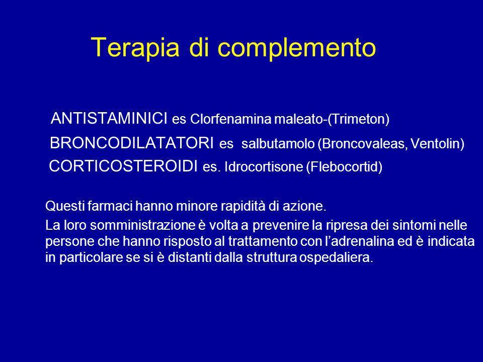 Terapia di complemento ANTISTAMINICI es Clorfenamina maleato-(Trimeton) BRONCODILATATORI es salbutamolo (Broncovaleas, Ventolin) CORTICOSTEROIDI es. I
