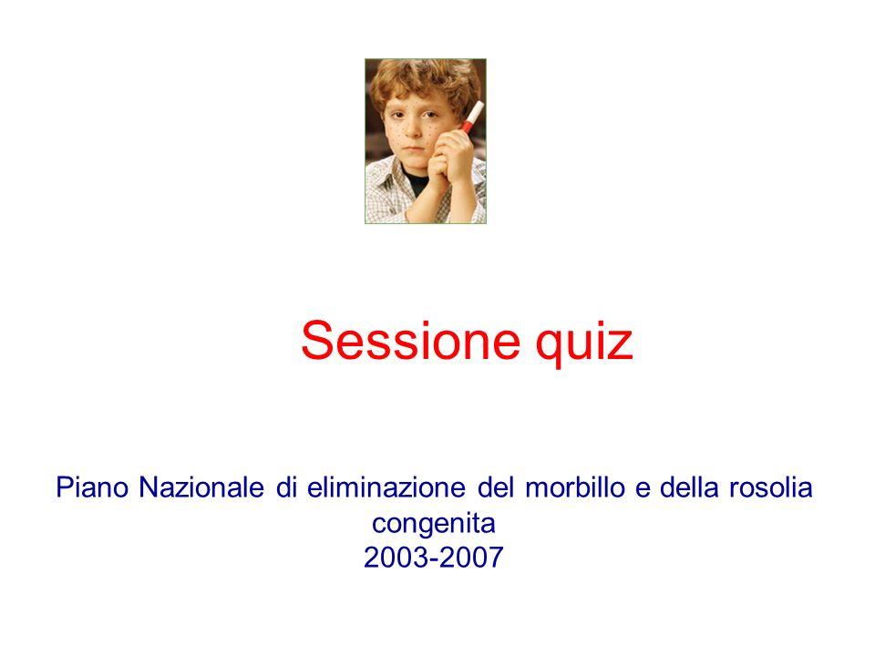 Sessione quiz Piano Nazionale di eliminazione del morbillo e della rosolia congenita 2003-2007