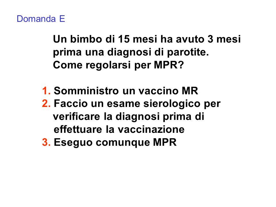 Una mamma vi porta il figlio di 12 mesi, non vaccinato per MPR, che il giorno prima è stato a contatto con un bimbo affetto da morbillo.