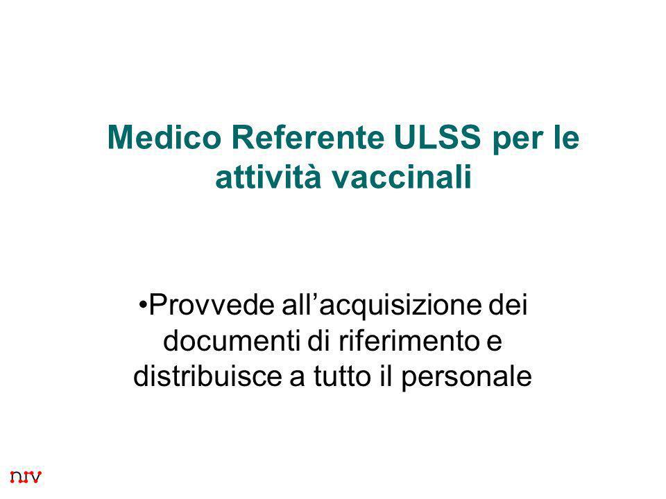 12 Medico Referente ULSS per le attività vaccinali Provvede allacquisizione dei documenti di riferimento e distribuisce a tutto il personale