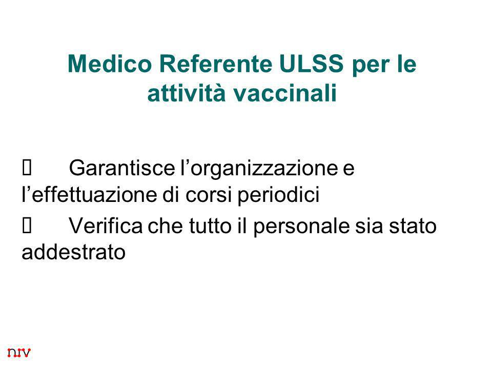 15 Medico Referente ULSS per le attività vaccinali Garantisce lorganizzazione e leffettuazione di corsi periodici Verifica che tutto il personale sia