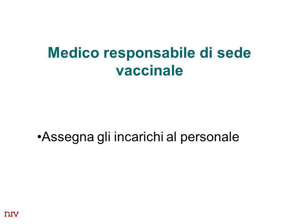 18 Medico responsabile di sede vaccinale Assegna gli incarichi al personale
