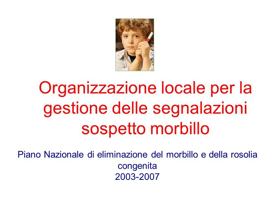 Organizzazione locale per la gestione delle segnalazioni sospetto morbillo Piano Nazionale di eliminazione del morbillo e della rosolia congenita 2003-2007