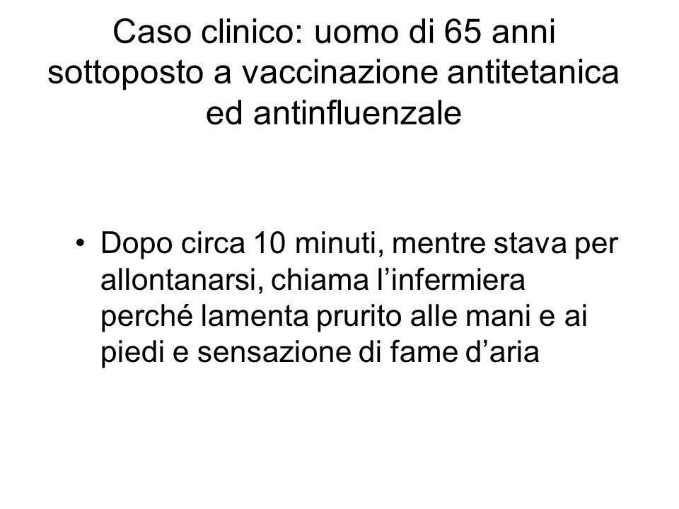 Caso clinico: uomo di 65 anni sottoposto a vaccinazione antitetanica ed antinfluenzale Dopo circa 10 minuti, mentre stava per allontanarsi, chiama linfermiera perché lamenta prurito alle mani e ai piedi e sensazione di fame daria