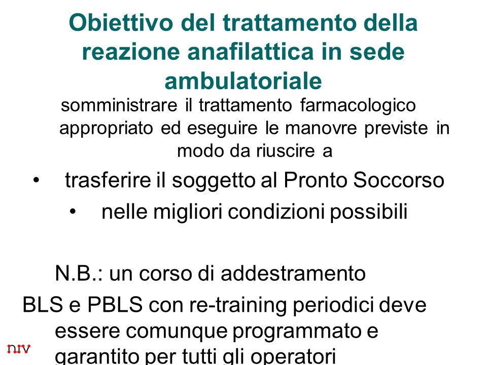2 Obiettivo del trattamento della reazione anafilattica in sede ambulatoriale somministrare il trattamento farmacologico appropriato ed eseguire le ma