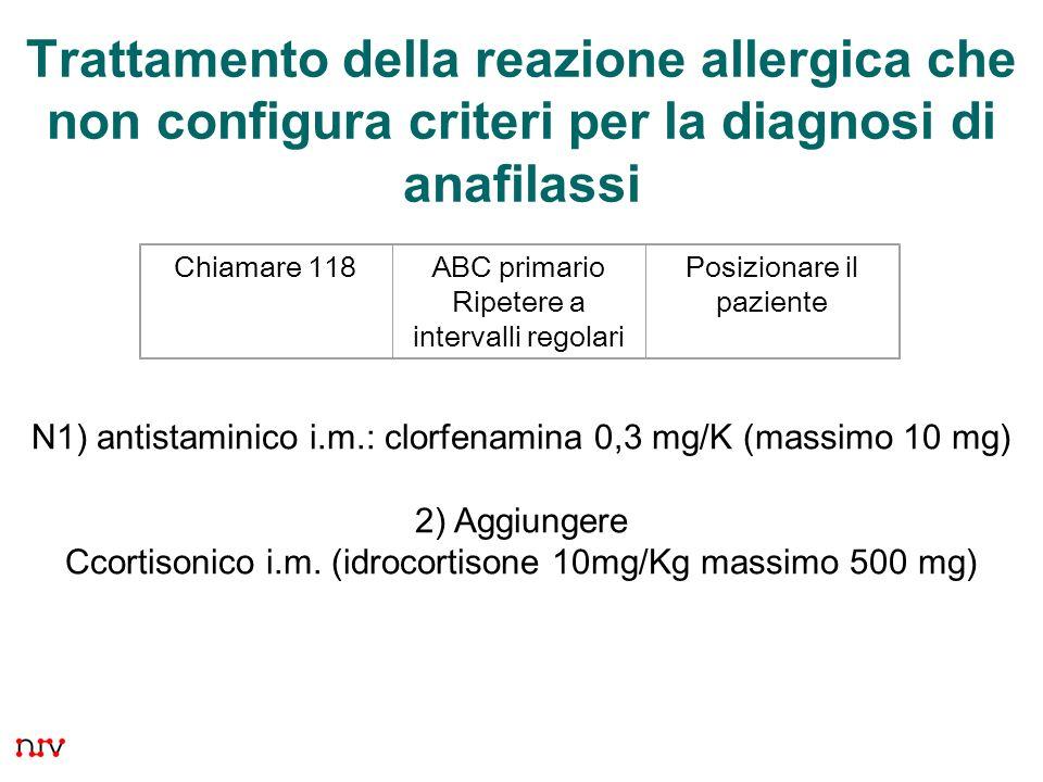 21 Trattamento della reazione allergica che non configura criteri per la diagnosi di anafilassi Chiamare 118ABC primario Ripetere a intervalli regolar