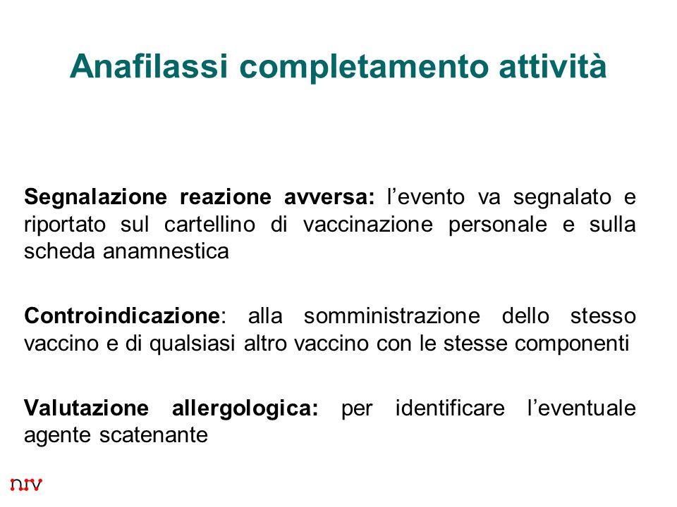 23 Anafilassi completamento attività Segnalazione reazione avversa: levento va segnalato e riportato sul cartellino di vaccinazione personale e sulla