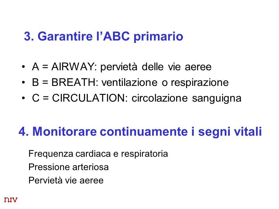 5 3. Garantire lABC primario 4. Monitorare continuamente i segni vitali Frequenza cardiaca e respiratoria Pressione arteriosa Pervietà vie aeree A = A