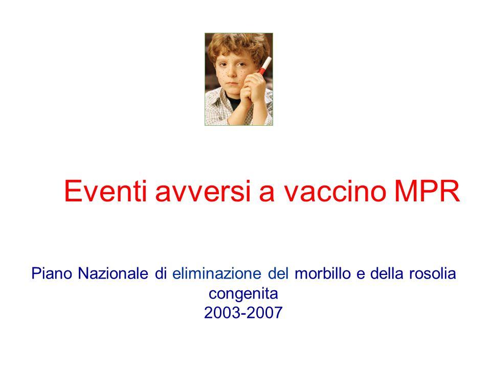 Eventi avversi a vaccino MPR Piano Nazionale di eliminazione del morbillo e della rosolia congenita 2003-2007