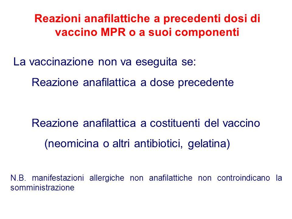 Reazioni anafilattiche a precedenti dosi di vaccino MPR o a suoi componenti La vaccinazione non va eseguita se: Reazione anafilattica a dose precedente Reazione anafilattica a costituenti del vaccino (neomicina o altri antibiotici, gelatina) N.B.