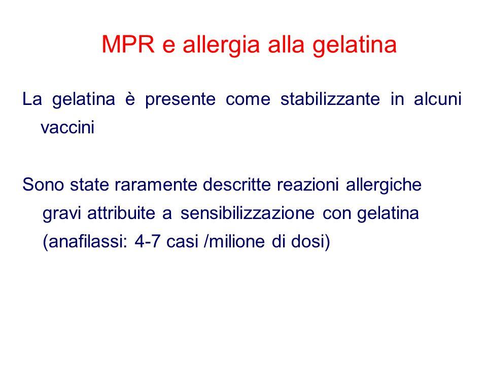 MPR e allergia alla gelatina La gelatina è presente come stabilizzante in alcuni vaccini Sono state raramente descritte reazioni allergiche gravi attribuite a sensibilizzazione con gelatina (anafilassi: 4-7 casi /milione di dosi)