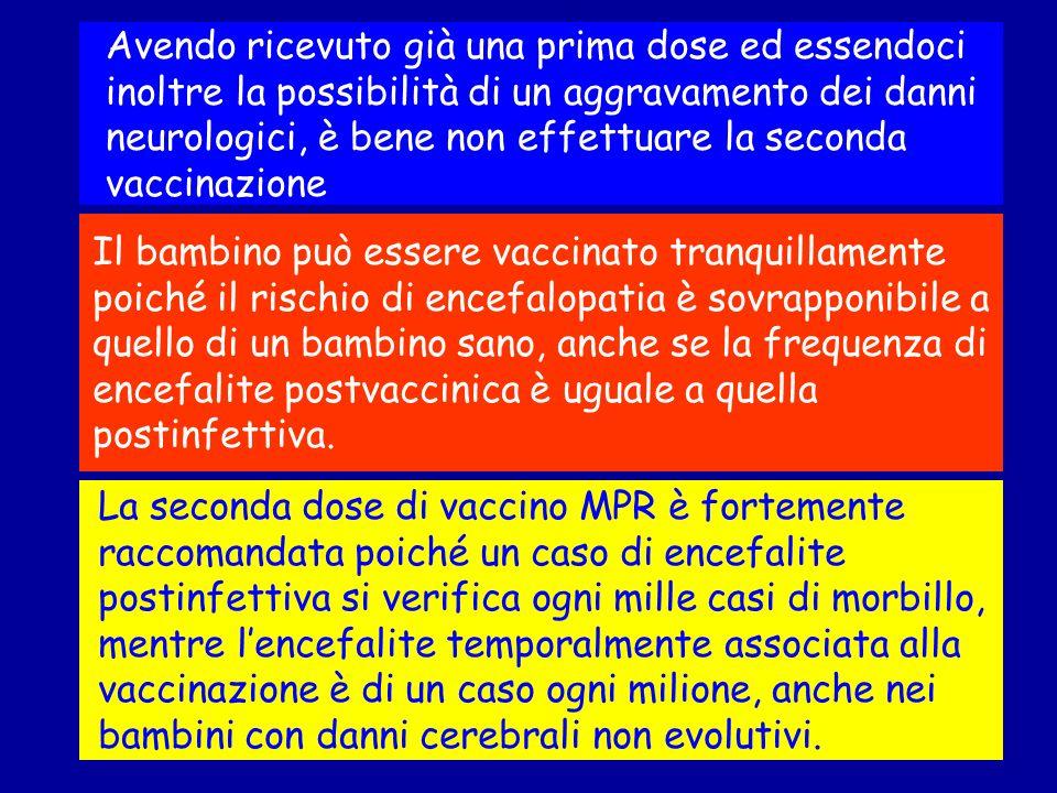 La seconda dose di vaccino MPR è fortemente raccomandata poiché un caso di encefalite postinfettiva si verifica ogni mille casi di morbillo, mentre le