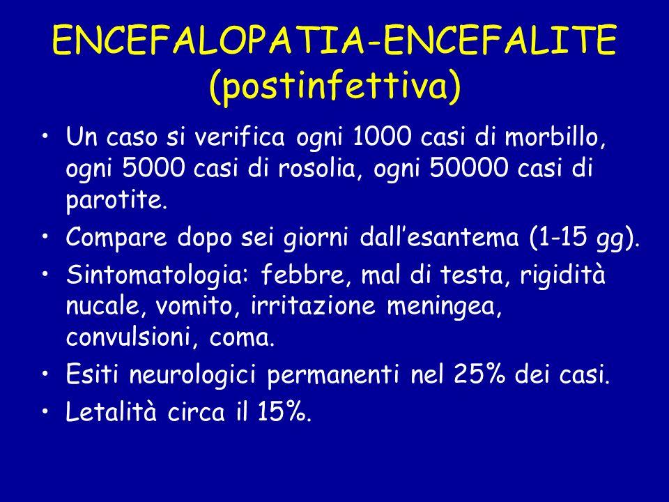 ENCEFALOPATIA-ENCEFALITE (postinfettiva) Un caso si verifica ogni 1000 casi di morbillo, ogni 5000 casi di rosolia, ogni 50000 casi di parotite. Compa