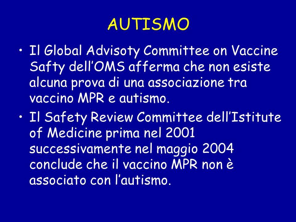 AUTISMO Il Global Advisoty Committee on Vaccine Safty dellOMS afferma che non esiste alcuna prova di una associazione tra vaccino MPR e autismo. Il Sa