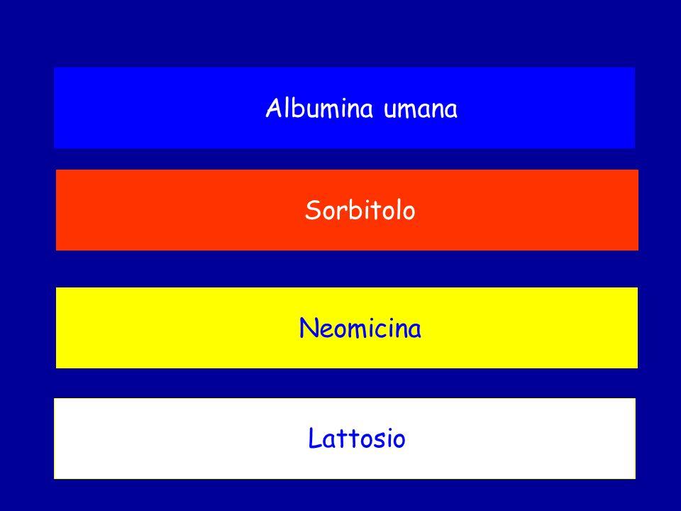 Sorbitolo Albumina umana Lattosio Neomicina