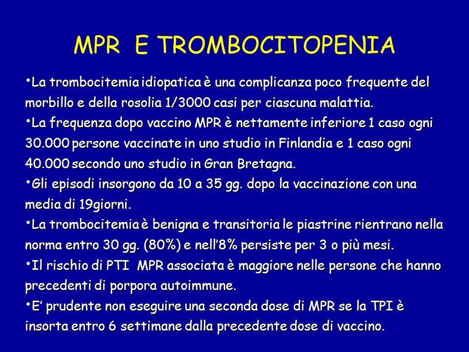 MPR E TROMBOCITOPENIA La trombocitemia idiopatica è una complicanza poco frequente del morbillo e della rosolia 1/3000 casi per ciascuna malattia. La