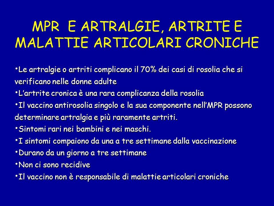 MPR E ARTRALGIE, ARTRITE E MALATTIE ARTICOLARI CRONICHE Le artralgie o artriti complicano il 70% dei casi di rosolia che si verificano nelle donne adu