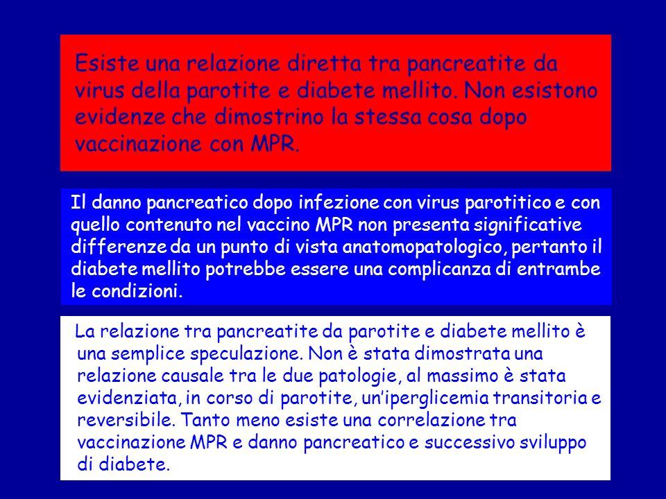 Esiste una relazione diretta tra pancreatite da virus della parotite e diabete mellito. Non esistono evidenze che dimostrino la stessa cosa dopo vacci