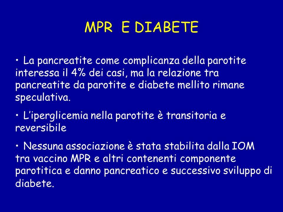 MPR E DIABETE La pancreatite come complicanza della parotite interessa il 4% dei casi, ma la relazione tra pancreatite da parotite e diabete mellito r