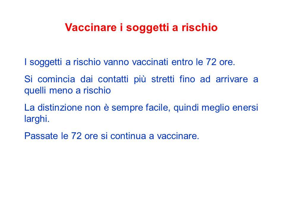 Vaccinare i soggetti a rischio I soggetti a rischio vanno vaccinati entro le 72 ore. Si comincia dai contatti più stretti fino ad arrivare a quelli me