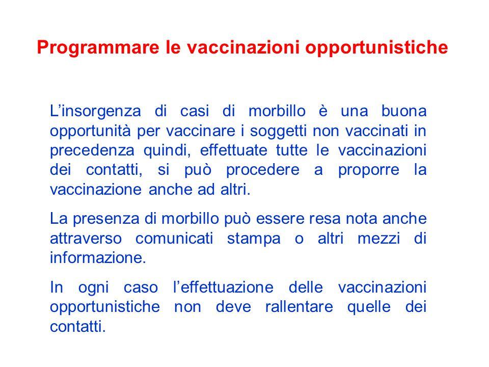 Programmare le vaccinazioni opportunistiche Linsorgenza di casi di morbillo è una buona opportunità per vaccinare i soggetti non vaccinati in preceden