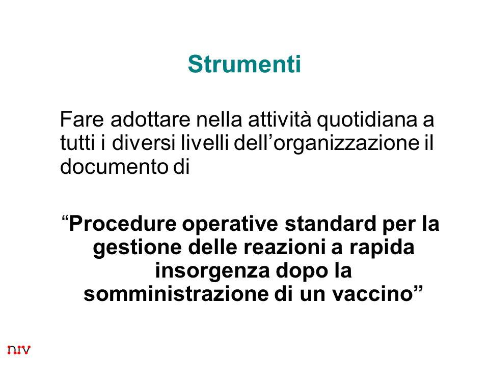 16 Strumenti Fare adottare nella attività quotidiana a tutti i diversi livelli dellorganizzazione il documento di Procedure operative standard per la gestione delle reazioni a rapida insorgenza dopo la somministrazione di un vaccino