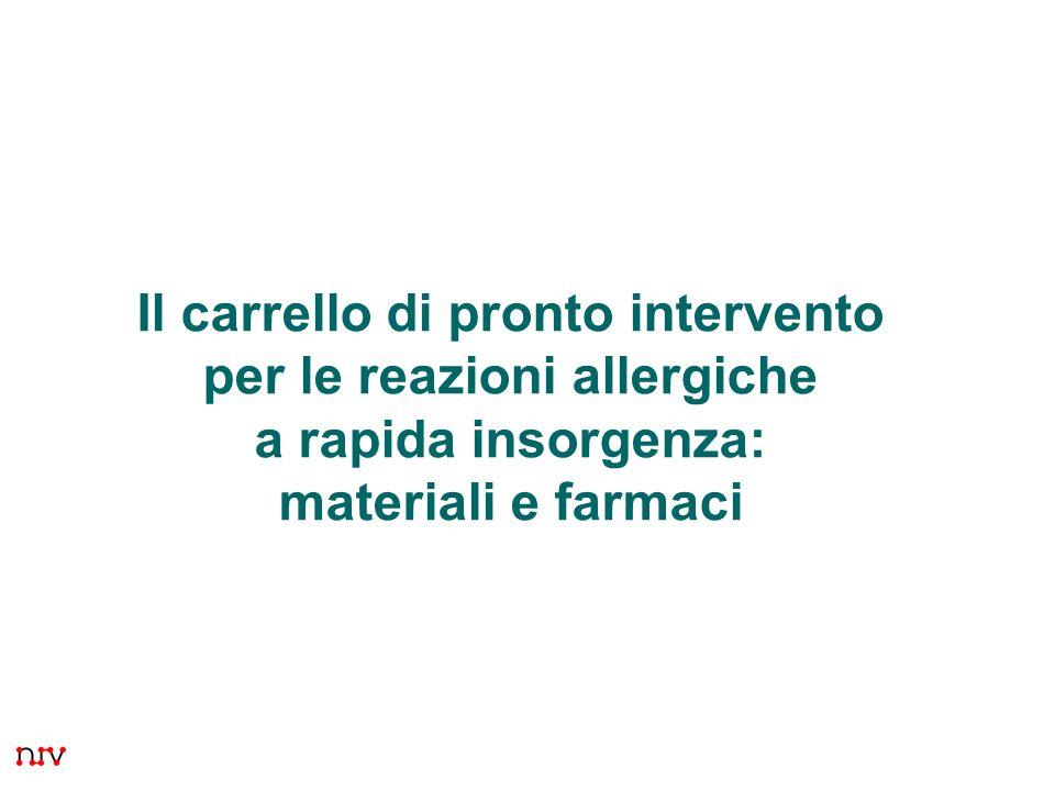 1 Il carrello di pronto intervento per le reazioni allergiche a rapida insorgenza: materiali e farmaci Presentazione 7