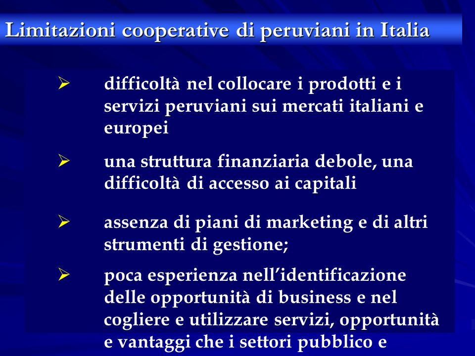 Limitazioni cooperative di peruviani in Italia difficoltà nel collocare i prodotti e i servizi peruviani sui mercati italiani e europei una struttura