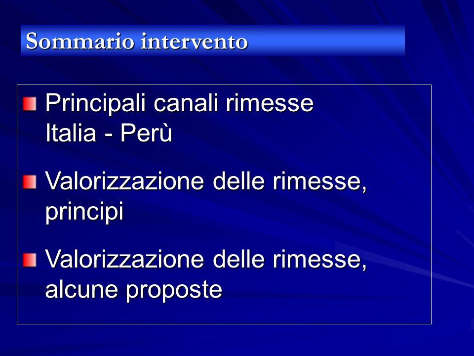 Principali canali rimesse Italia - Perù Valorizzazione delle rimesse, principi Valorizzazione delle rimesse, alcune proposte Sommario intervento