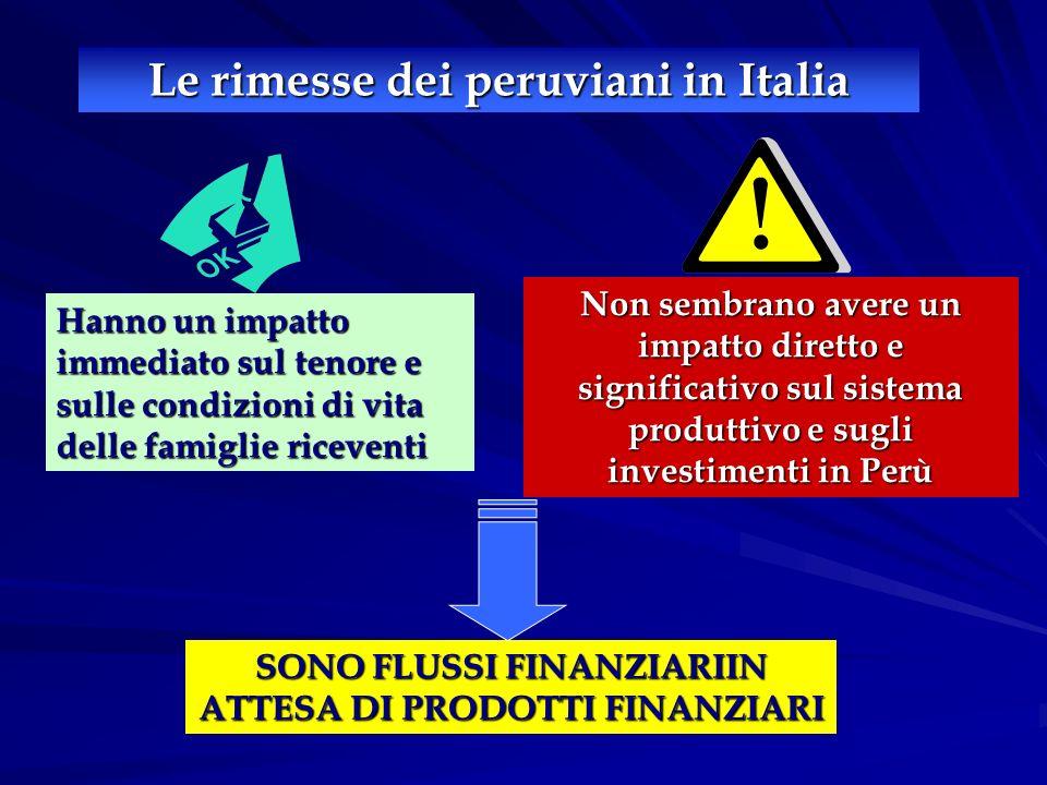 Le rimesse dei peruviani in Italia Hanno un impatto immediato sul tenore e sulle condizioni di vita delle famiglie riceventi Non sembrano avere un impatto diretto e significativo sul sistema produttivo e sugli investimenti in Perù SONO FLUSSI FINANZIARIIN ATTESA DI PRODOTTI FINANZIARI