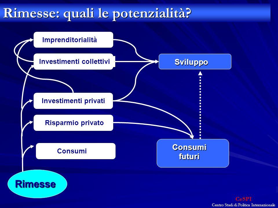 CeSPI Centro Studi di Politica Internazionale ImprenditorialitàInvestimenti collettivi Investimenti privati Risparmio privatoConsumi Sviluppo Consumi futuri Rimesse Rimesse: quali le potenzialità